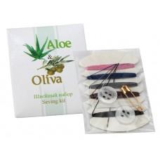 Швейный набор в картоне (нитки, иголка, пуговицы, булавка), (Серия «Aloe & Oliva»)