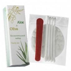 Косметический набор в картоне (косметические диски, косметические палочки), (Серия «Aloe & Oliva»)