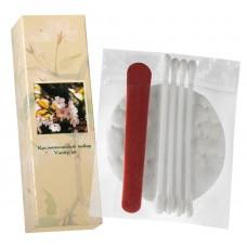 Косметический набор в картоне (ватные косметические диски 2 шт, косметические палочки 3 шт, пилочка для ногтей 8 см), (Серия «Сакура»)