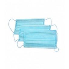 Маска медицинская одноразовая, трехслойная, на резинках с носовым фиксатором