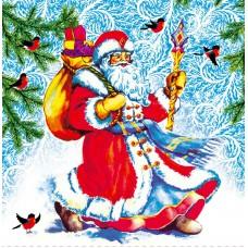 """Салфетки бумажные """"FRESCO"""", Дед Мороз, 2 слоя, 330х330мм, 20л в п/п"""