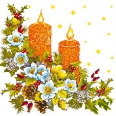 """Салфетки бумажные """"Design"""", Новогодние свечи, 3 слоя, 330х330мм, 20л в п/п"""