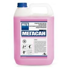 Мегасан. Средство для очистки и дезинфекции сантехники и кафельной плитки концентрированное, 5л (канистра)