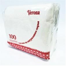 "Салфетки ""Verona"",1 слой, 100 л, белые, 24х24см, п/п"