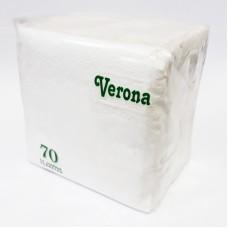 "Салфетки ""Verona"", 2 слоя, 70 л, белые, 24х24 см, п/п"