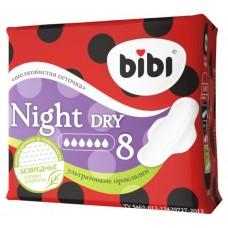 Bibi прокладки, Super Night Dry , ультратонкие, 8 шт, 6 капель