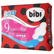 Bibi прокладки, Super Ultra Soft, 9 шт, 5 капель