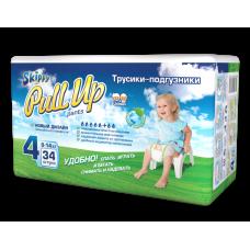 Трусики -подгузники детские Skippy Pull Up, р-р 4 (9-14кг), 34 шт