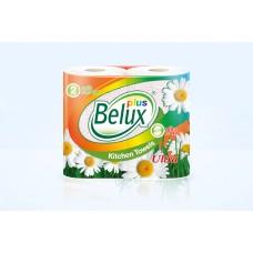 """Полотенца бумажные """"Belux Plus"""" 2 слоя, 2 рулона, белые с рисунком"""